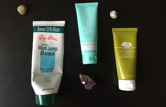 My three favourite products for multimasking: Queen Helene Mint Julep Masque, Kora Organics Exfoliating Mask & Origen Drink Up Intensive Overnight Mask.