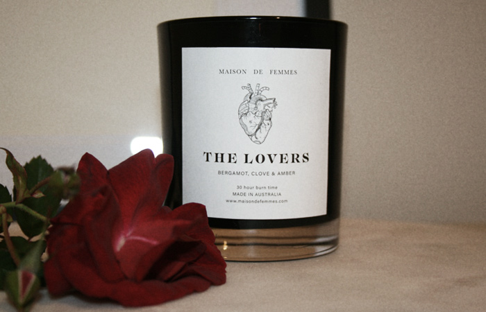 Maison de Femmes The Lovers Candle with Rose.