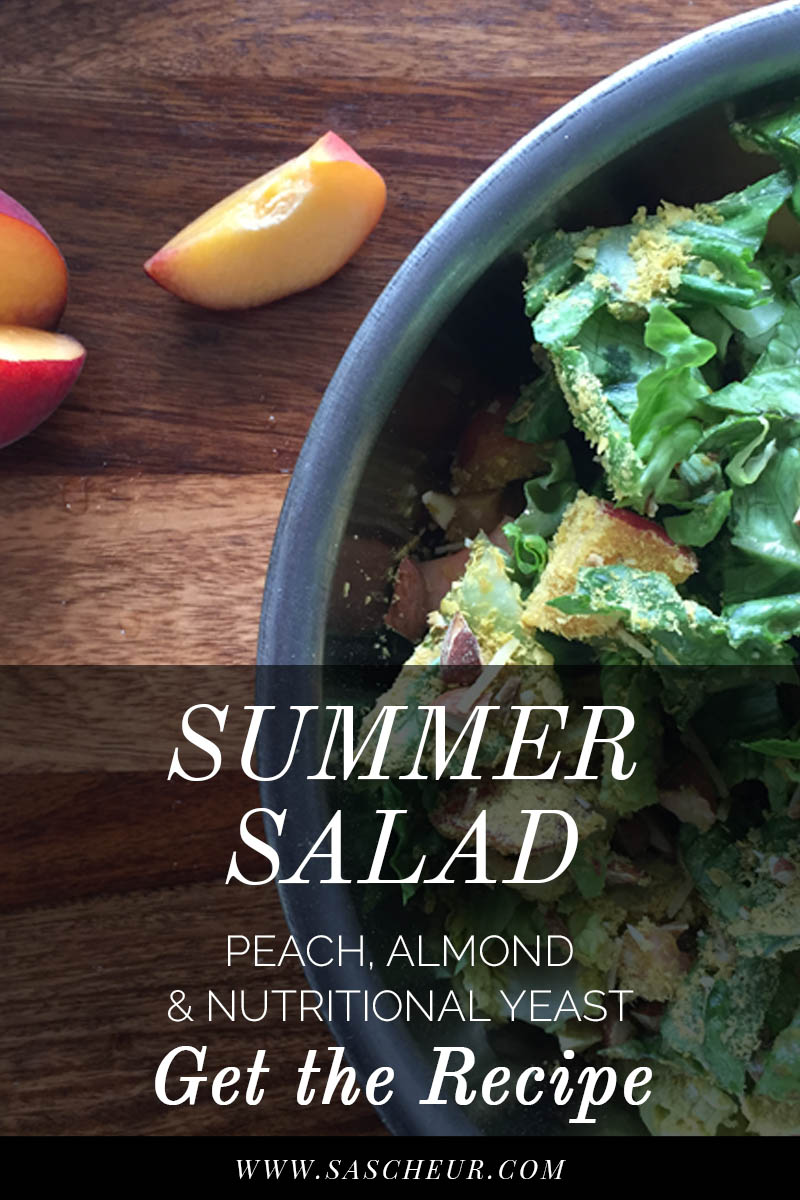 Fresh and super healthy, this peach, almond and nutritional yeast salad will become your summer staple. Get the recipe.