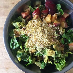 Delicious, Healthy Peach and Nutritional Yeast Salad.