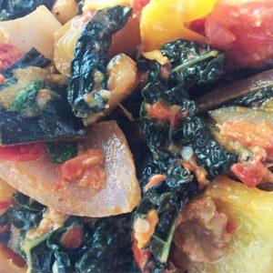 Seasonal veggies with ajvar