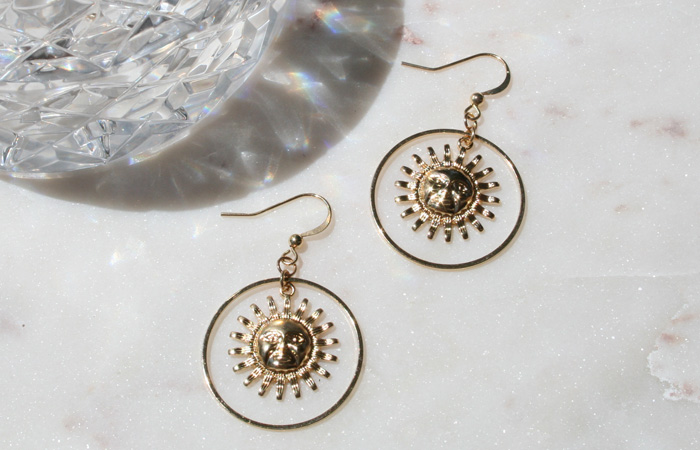 Maison de Femmes Sunshine of your Life Earrings Flatlay on Marble.